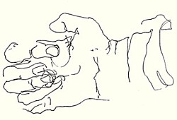 Blind contour drawing of the hand